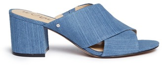 'Stanley' cross vamp denim mules