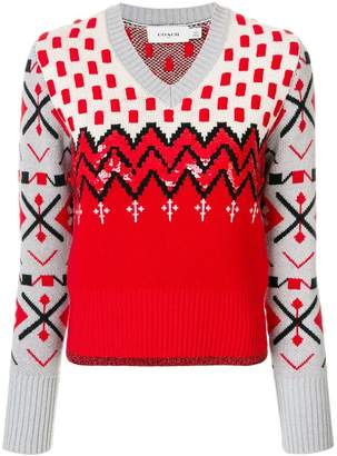 Coach patterned embellished sweater