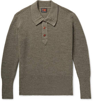 The Workers Club Ribbed Merino Wool Half-Placket Sweater