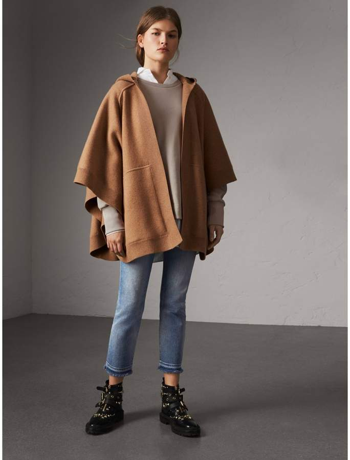 Burberry Wool Cashmere Blend Hooded Poncho