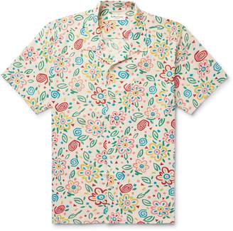 YMC Camp-Collar Floral-Print Cotton-Mesh Shirt