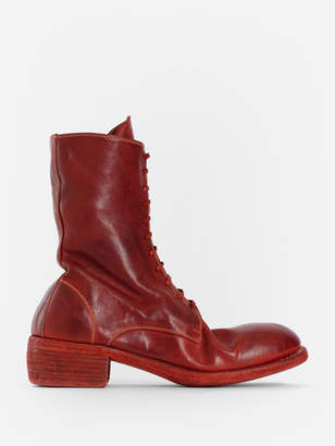 Guidi MEN'S RED SOFT HORSE LACED UP BOOTS