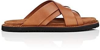 Buttero Men's Crisscross-Strap Leather Slide Sandals - Brown