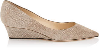 Jimmy Choo TAYLOR Chai Canvas Leather Pointy Toe Wedge