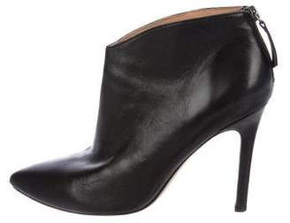 Halston Leather Pointed-Toe Booties