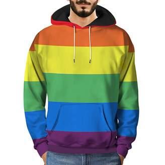 Mens Hoodies Pervobs Mens Loose Long Sleeve 3D Printed Rainbow Hooded Sweatshirt Pullover Hoodies(L, )