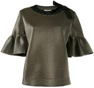 Fendi short bell sleeve blouse