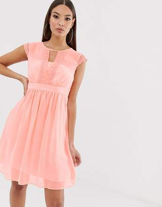 Naf Naf romantic pastel soft mesh dress in empire still with lace