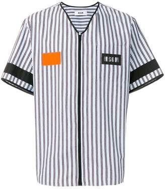 MSGM zipped stripe shirt