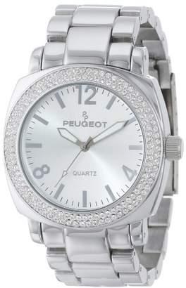 Peugeot Women's All Boyfriend Oversized Watch with Swarovski Crystal Bezel Metal Link Bracelet 7075S