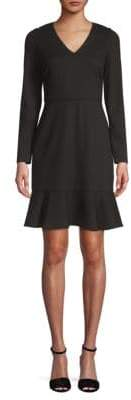 Saks Fifth Avenue V-Neck Long-Sleeve Ponte Dress
