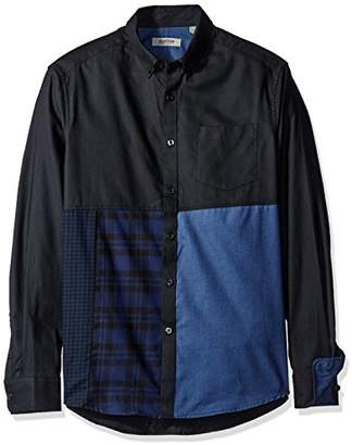 Kenneth Cole Reaction Men's Long Sleeve Button Down Collar 1 Pocket Blocked