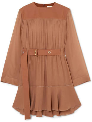 Chloé Belted Mousseline And Silk-blend Crepe Mini Dress - Brown