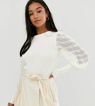 Asos DESIGN Petite jumper with pointelle sleeve detail