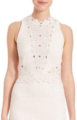 Rebecca Taylor Sleeveless Dia Lace Top