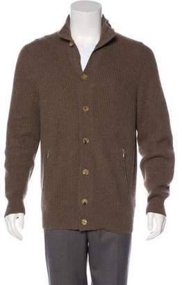 Brunello Cucinelli Hooded Cashmere Rib Knit Jacket