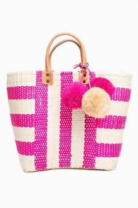 Mar y Sol Pink Collins Striped Basket Tote $129 thestylecure.com