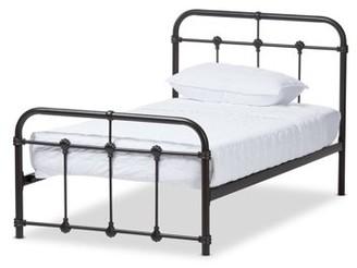 Baxton Studio Baxton Studios Mandy Vintage Industrial Black Finished Metal Twin Size Platform Bed