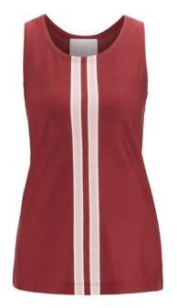 Fashion Show Italian-jersey top with knitted stripes