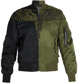 Marcelo Burlon County of Milan Wing Embroidered Two Tone Bomber Jacket - Mens - Green