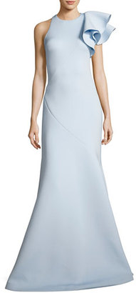 Jovani Ruffle-Trim Scuba Mermaid Gown, Light Blue $595 thestylecure.com
