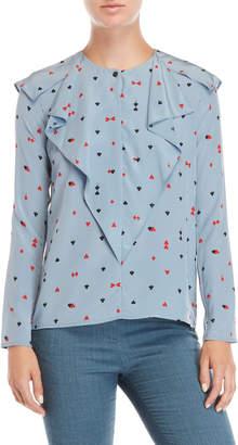 Sonia Rykiel Sonia By Card Suit Printed Ruffle Shirt