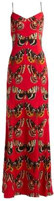 Dolce & Gabbana Butterfly Print Satin Gown - Womens - Red Print