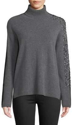 Neiman Marcus Two-Tone Embellished-Sleeve Turtleneck Sweater