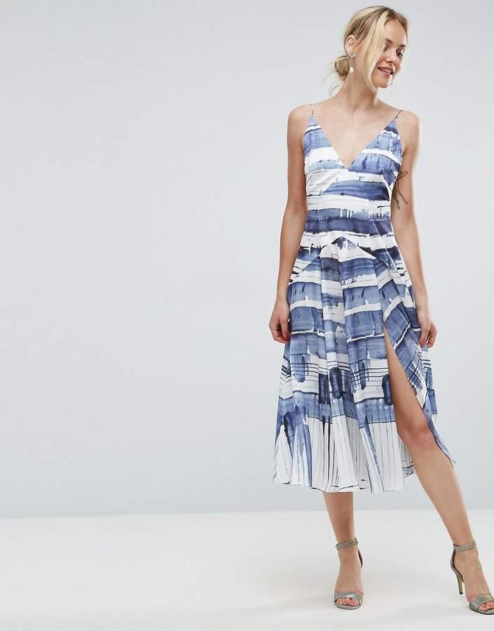 AsosASOS Abstract Stripe Cami Thigh Split Paneled Midi Dress