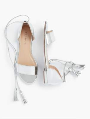 Talbots Keri Tasseled Ankle-Strap Sandals - Mirror Metallic