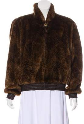 St. John Faux Fur Zip-Up Jacket