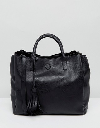 Oasis Tassel Detail Faux Leather Tote Bag $48 thestylecure.com