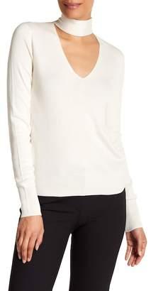 Theory Choker Collar Silk Blend Sweater