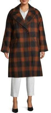Rachel Roy Plus Plaid Longline Coat