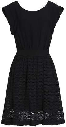 Sandro Cindy Tie-Back Crepe And Crochet-Knit Dress