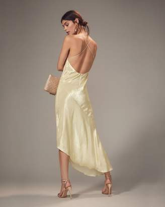 Intermix Haney Goldie Champagne Asymmetrical Gown