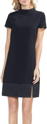 Vince Camuto Topstitched-border Dress