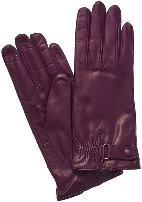 Portolano Fresh Plum Cashmere-Lined Leather Gloves
