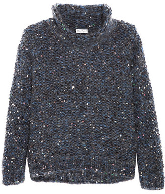 Sequined Chunky-knit Turtleneck Sweater - Gray