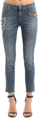 Ermanno Scervino Slim Embroidered Stretch Denim Jeans