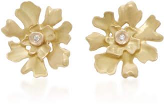 Annette Ferdinandsen Lichen 18K Gold Diamond Stud Earrings