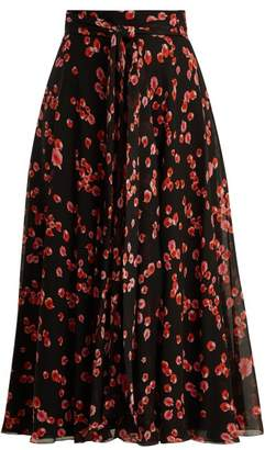 Giambattista Valli Petal Print Silk Georgette Midi Skirt - Womens - Black Multi