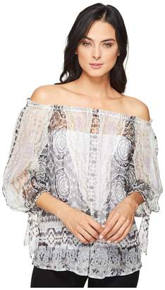Hale Bob Force of Nature Washed Silk Georgette Off the Shoulder Top Women's Clothing