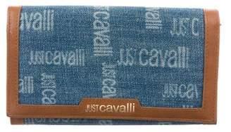 Just Cavalli Leather-Trimmed Denim Wallet