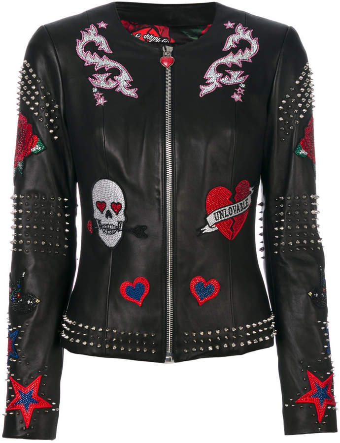 Philipp Plein studded patch leather jacket