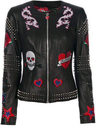 Philipp Plein studded patch leather jacket