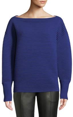 Victoria Beckham Victoria Boat-Neck Full-Sleeve Horizontal Ribbed Wool Sweater