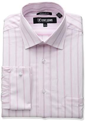Stacy Adams Men's Stripe Y.d. Dress Shirt, Grey