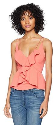 Finders Keepers findersKEEPERS Women's Kindred Double Strap Sleeveless Ruffle Front Cami Top