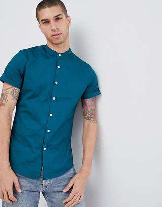 Asos DESIGN slim shirt with grandad collar in teal